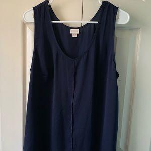 Navy blue sleeveless rounded V-neck blouse